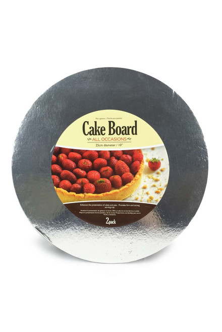CAKEBOARD THIN ROUND 25CM SILVER 2 Pack