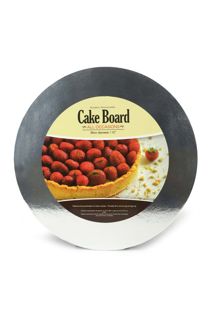 CAKEBOARD TIN ROUND 30cm SILVER