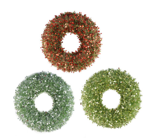 GREEN TINSEL WREATH 50cm WITH STAR
