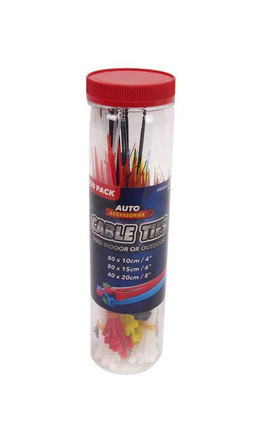 CABLE TIES ASSORTED SIZES 200 Pack