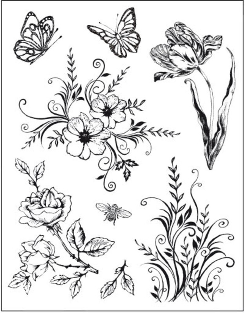 Rubber Stamp Set Viva Decor - Flowers and Butterflies