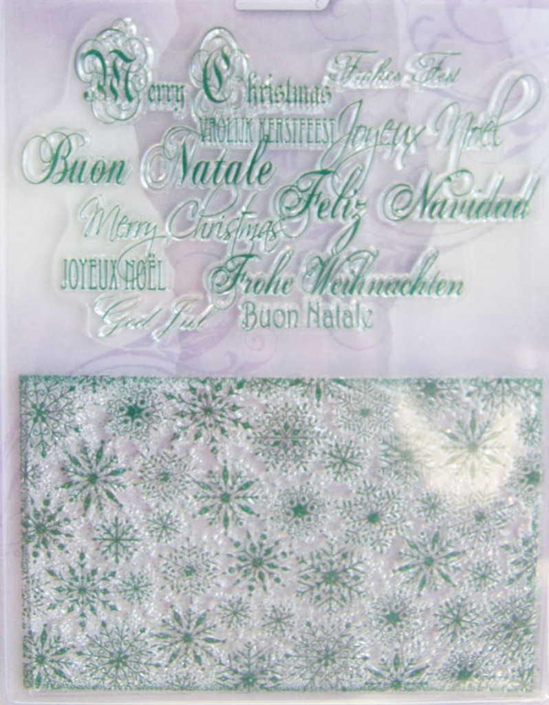 Rubber Stamp Set by Viva Decor - Christmas Background and Letters