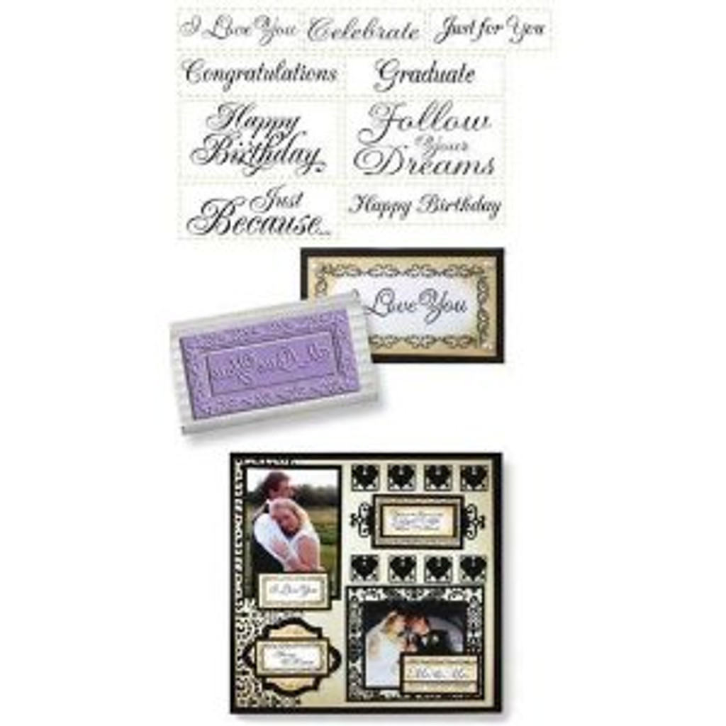 JustRite Rubber Stamps All Occasion Nested Sentiments Set