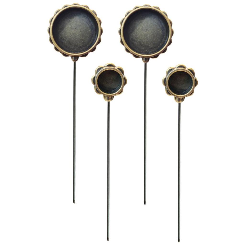 Media Mixage Bezels Bronze Circle Hatpins