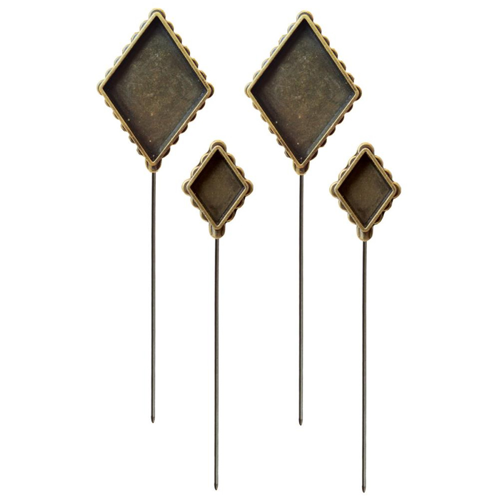Media Mixage Bezels Bronze Diamond Hatpins