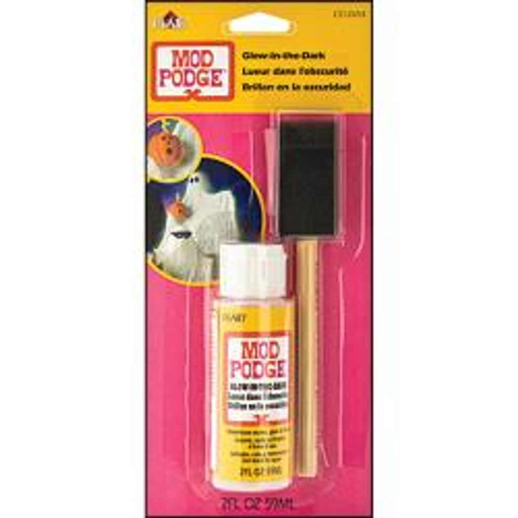 Mod Podge Medium W/Foam Brush 2oz Glow-In-The-Dark