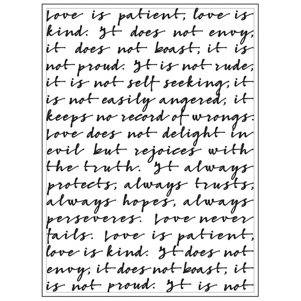 "Script Love Is Quote- Background Embossing Folder 4.25""X5.75"""