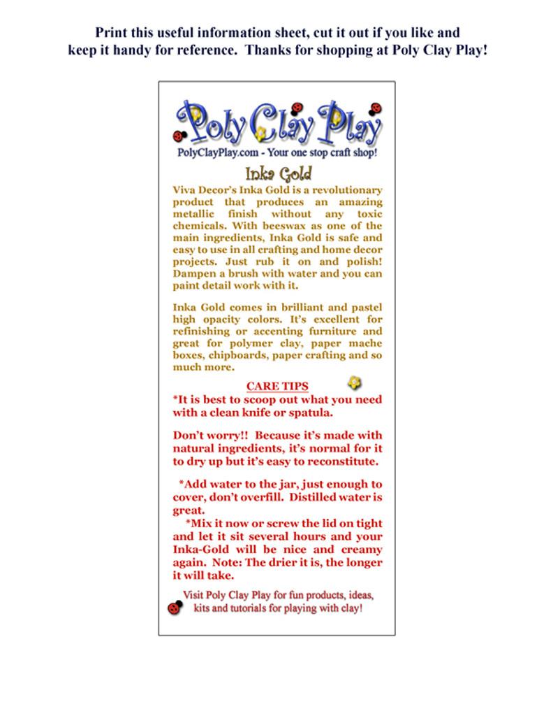 Inka Gold Printable Care and Feeding Sheet