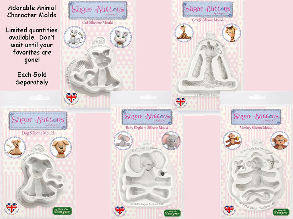 Animal Character Sugar Buttons Silicone Molds