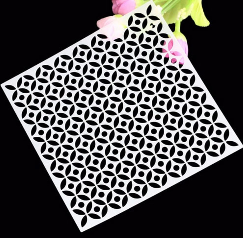 Optical Illusion Stencil Leaves or Cogs