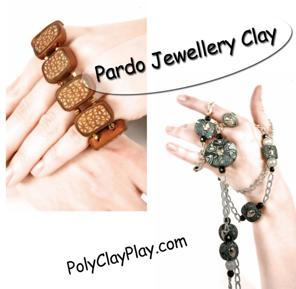 Pardo Jewellery Clay - Orange Calcite with Silver Glitter