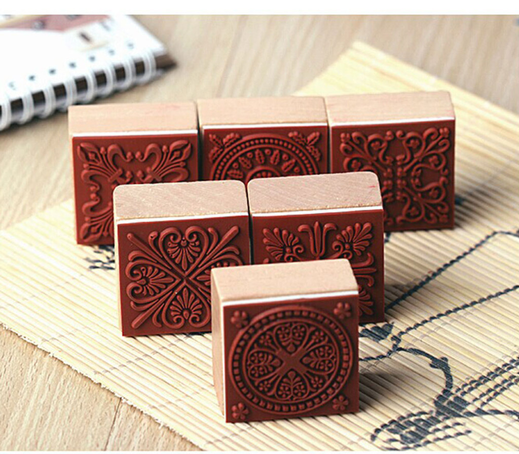 Floral Pattern Lace Stamps 6 piece set wood mounted