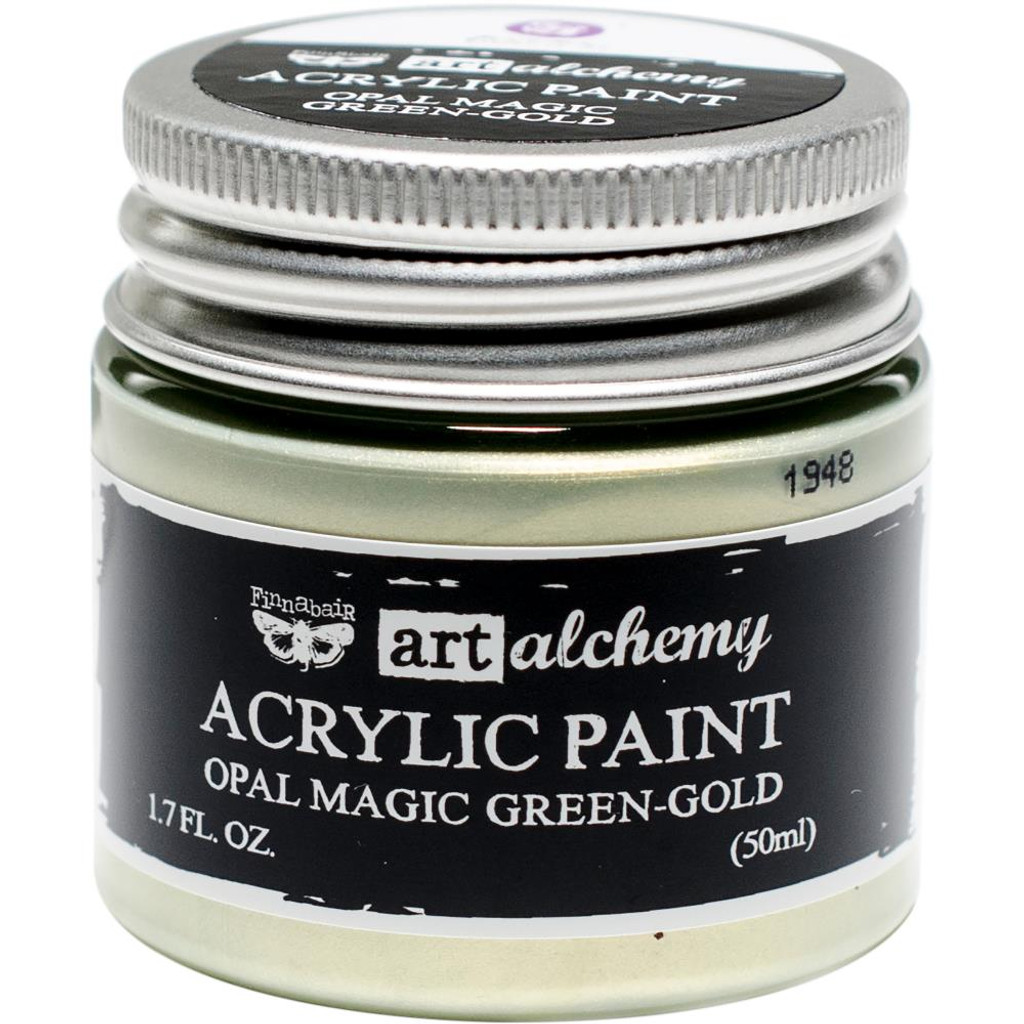 Finnabair Art Alchemy Acrylic Paint - Opal Magic Green/Gold