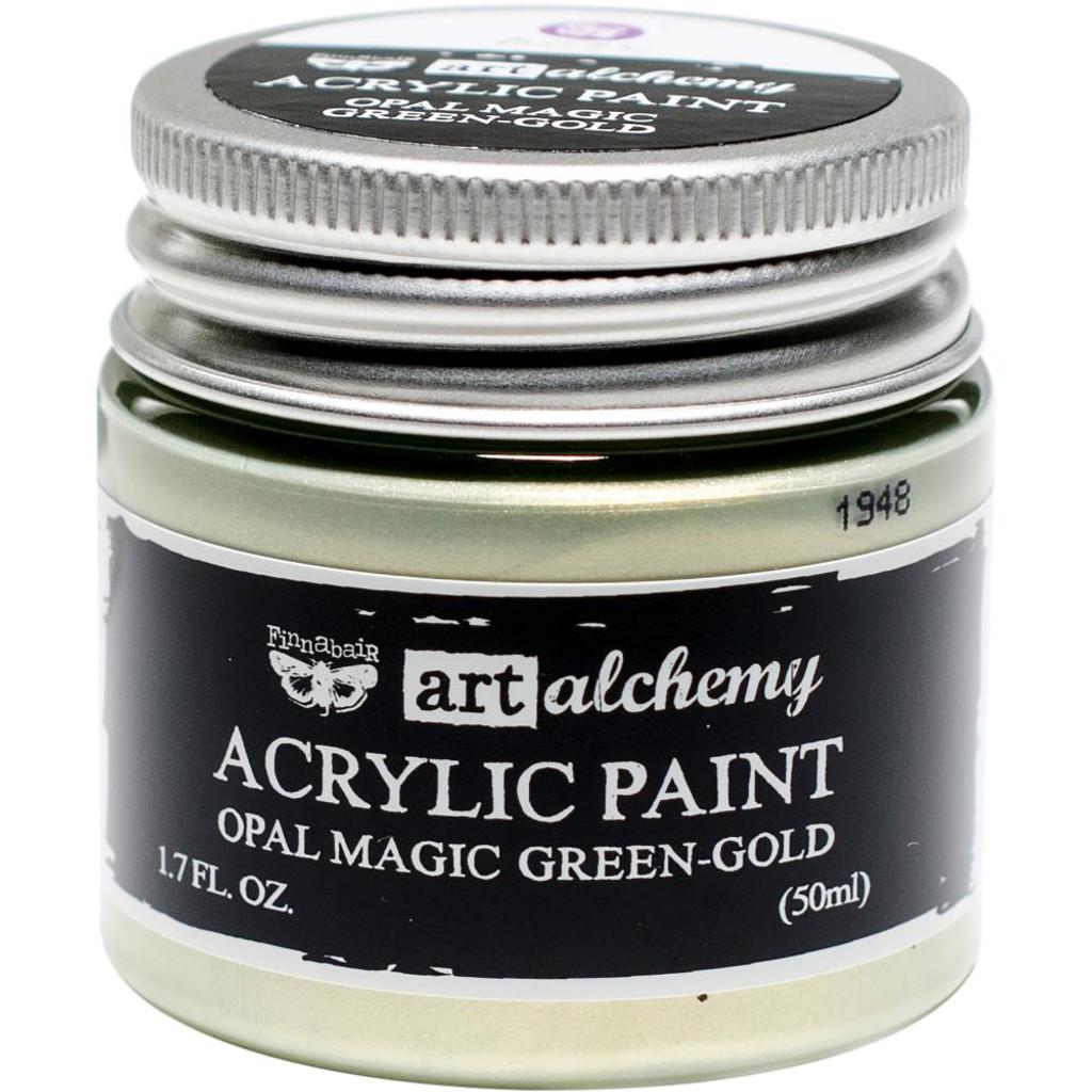 Finnabair Art Alchemy Acrylic Paint - Opal Magic Green/Gold