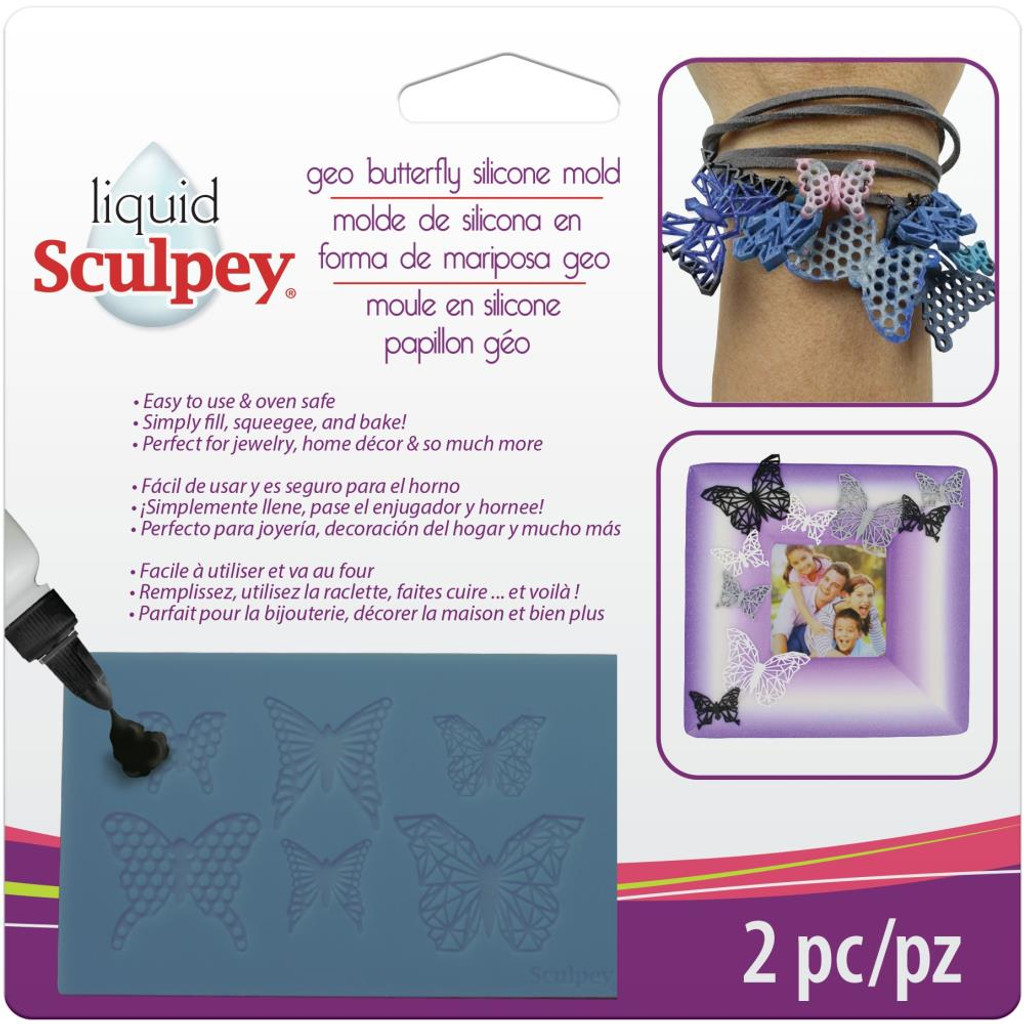 Liquid Sculpey Silicone Bakeable Mold W/Squeegee Geo Butterfly