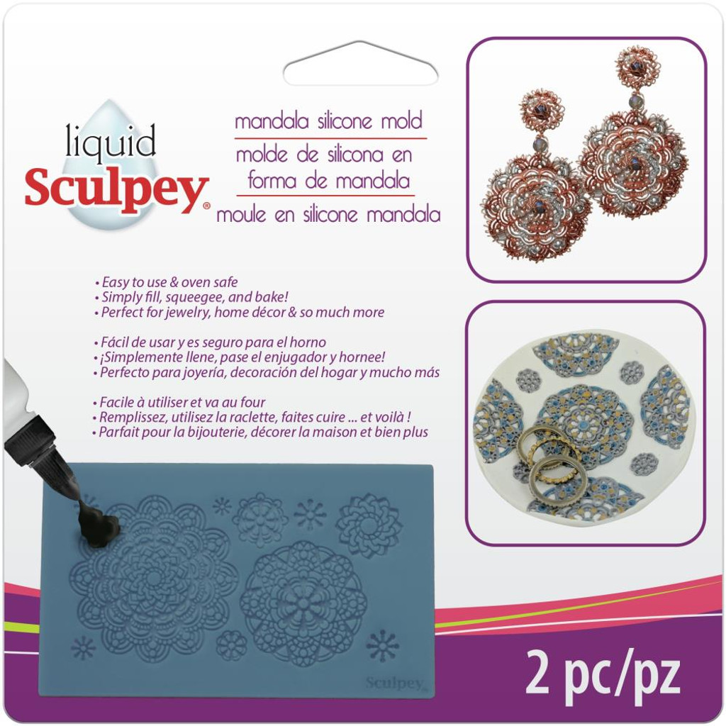 Liquid Sculpey Silicone Bakeable Mold W/Squeegee Mandala