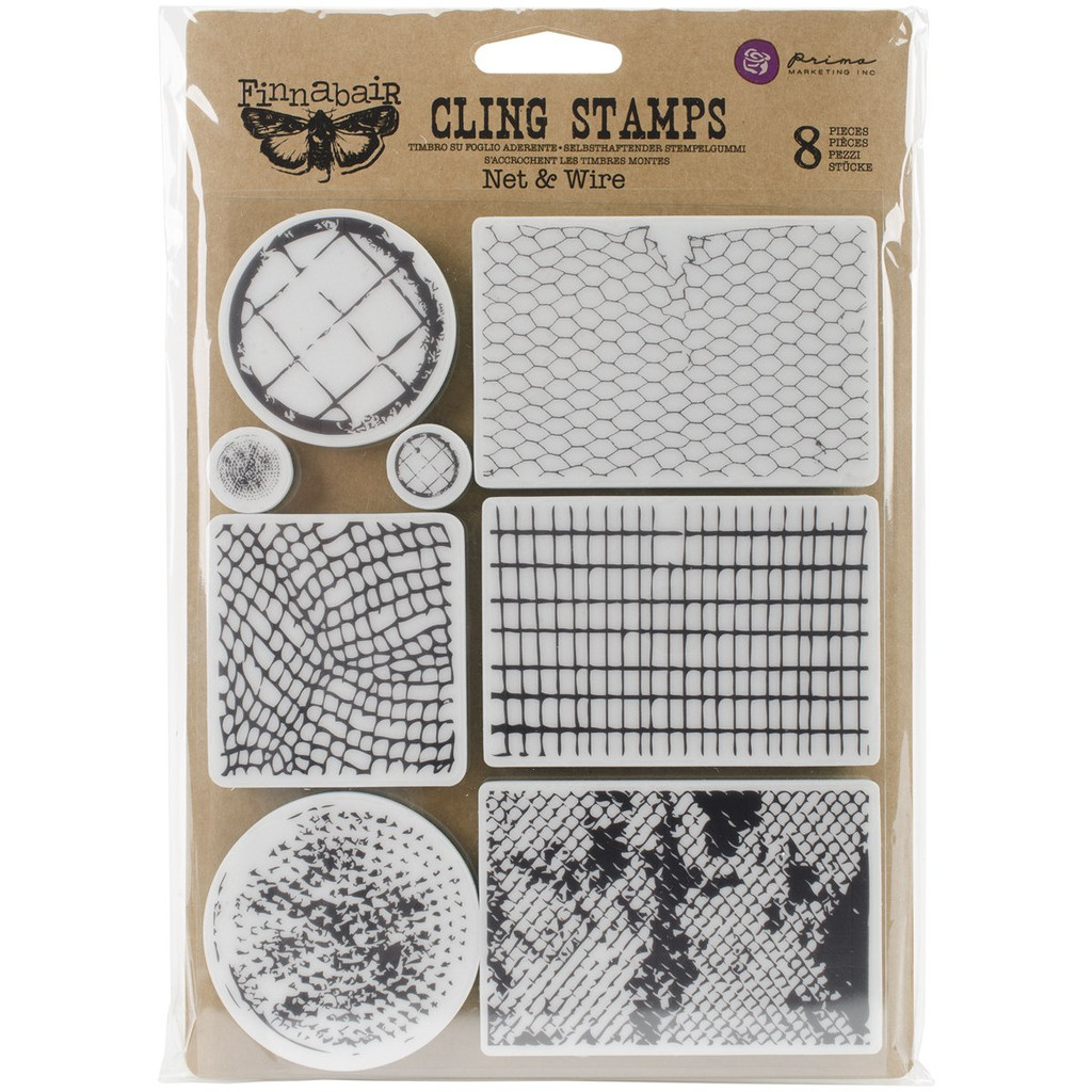 Net & Wire Cling Stamps Finnabair by Prima Marketing 8 pc set