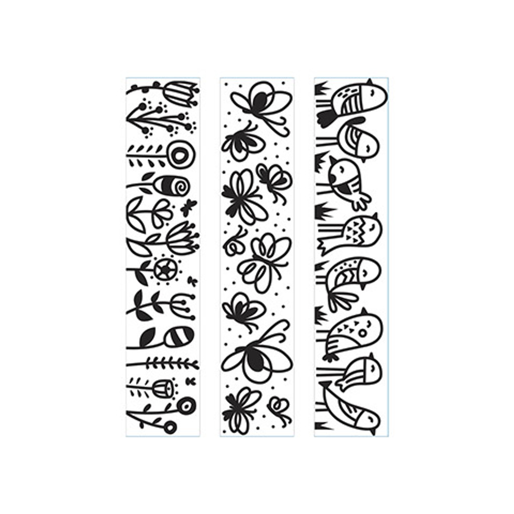 "Birds Butterflies Flowers  - Background Embossing Folder 4.25""X5.75"""