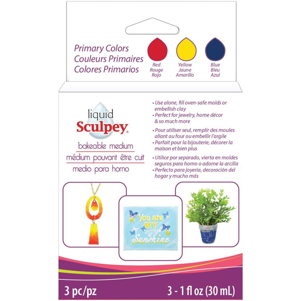 Sculpey Liquid Primary Colors 3/Pkg