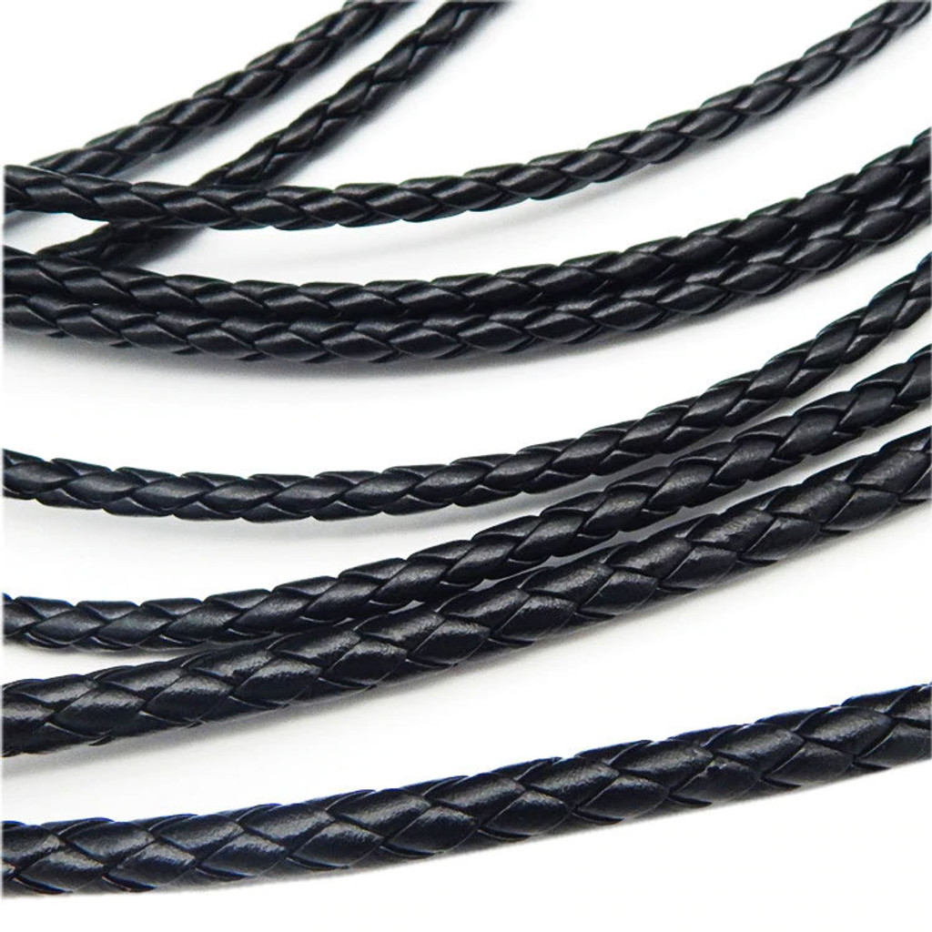 "Round Braided Leather Cord 5mmX192"" Brown or Black"