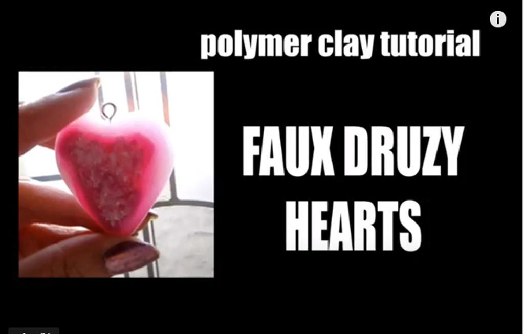 Faux Druzy heart pendants for Valentine's Day Pardo Tutorial
