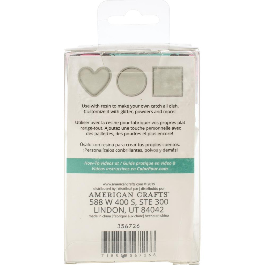 Catch All Dish - Square, Circle & Heart American Crafts Color Pour Resin Mold