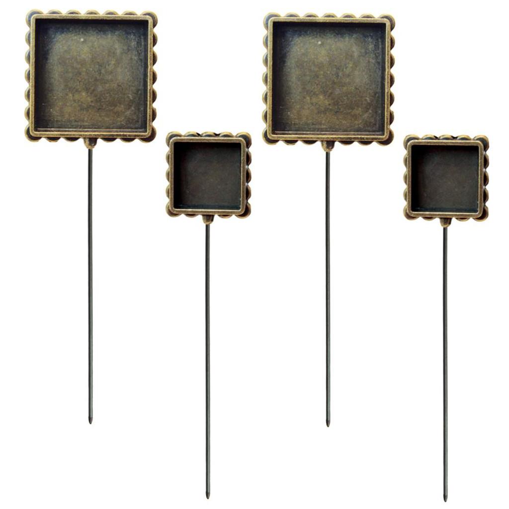 Media Mixage Bezels Bronze Square Hatpins