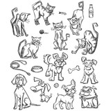 """Tim Holtz Cling Stamps 7""""X8.5"""" - Mini Cats and Dogs"""