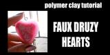 Pardo Faux Druzy Hearts
