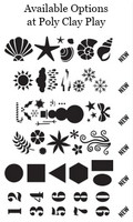 Some of the stencil options available at Poly Clay Play!
