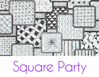 Square Party Silkscreen Stencil