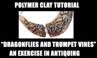 Dragonflies and Trumpet Vines Necklace - Exercise in antiquing polymer clay - Tutorial Free