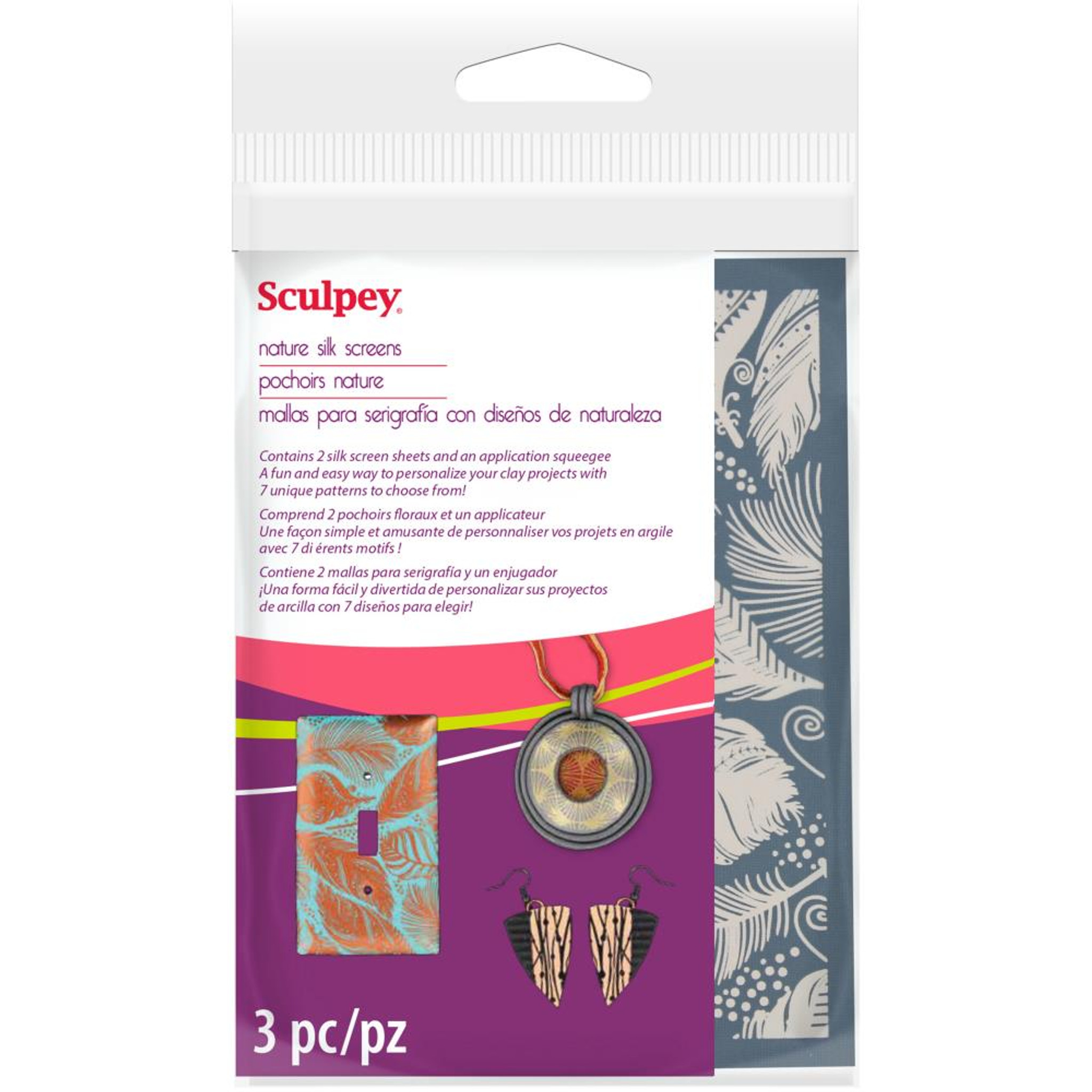 SCULPEY Polymer Clay SILK SCREEN KIT Metallic Paint Screens Patterns Stencils