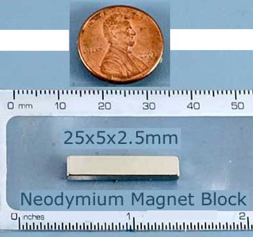 Rare Earth Magnet Neodymium 25x5x2.5mm