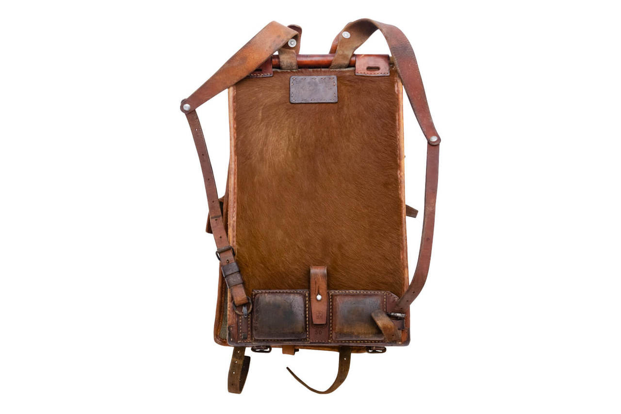 Swiss Army Cowhide Backpack with front pocket (1950)