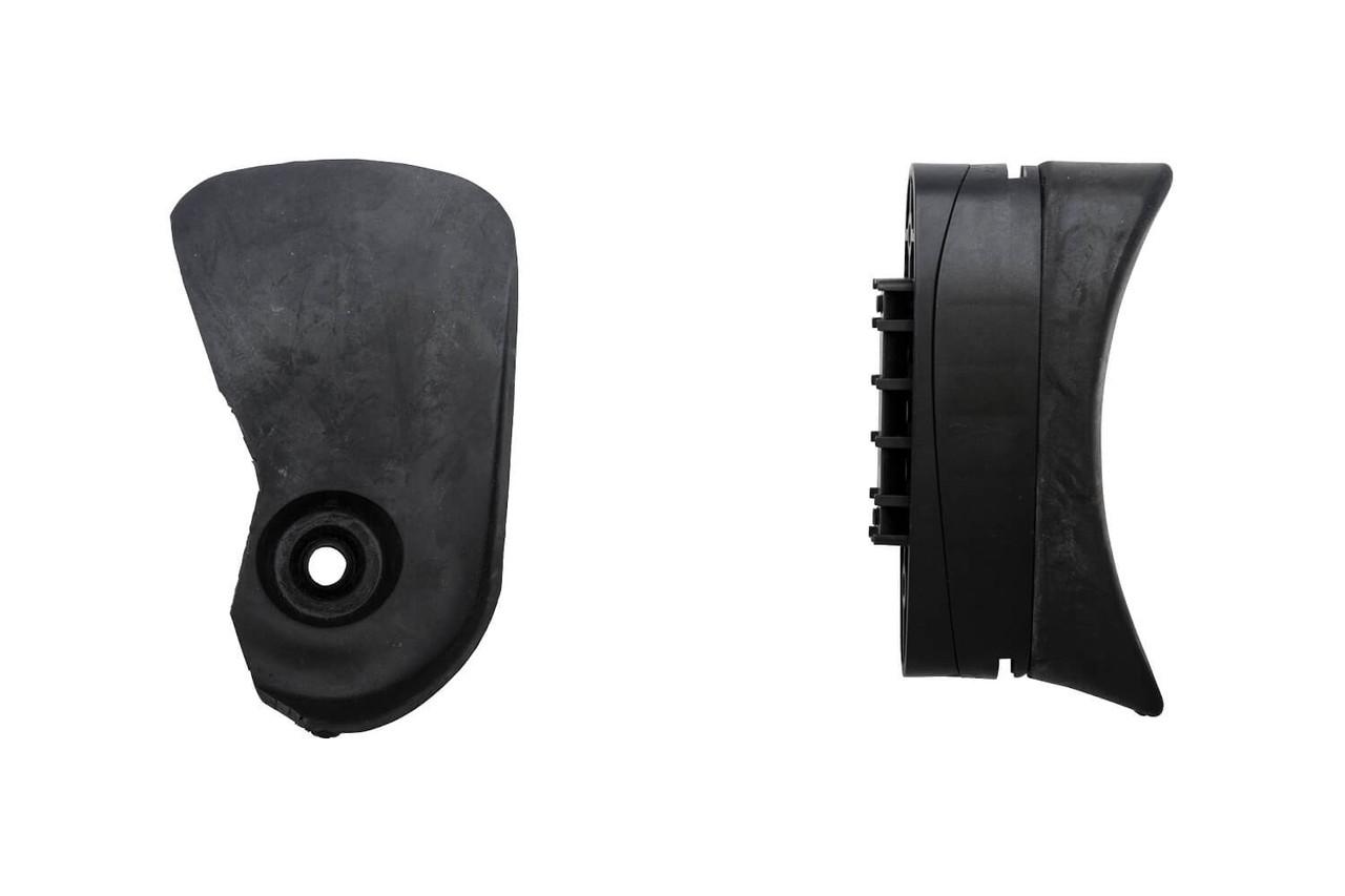 Left: Eye blinder. Right: Plastic/rubber butt plate without shoulder hook.