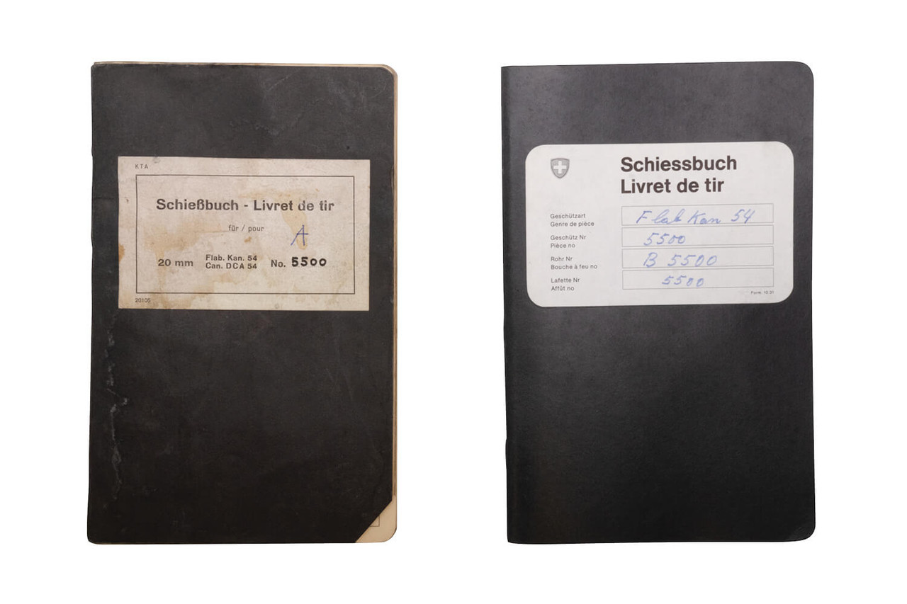 Shooting log books for Flab Kan 54, serial number 5500.