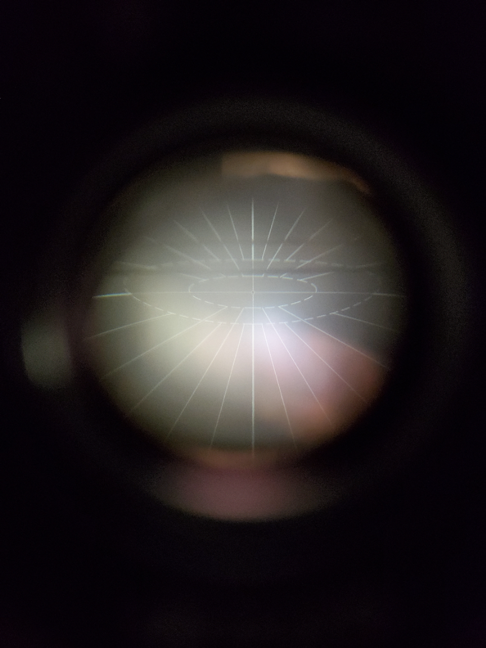 Optic's reticle. Reticle is illuminated in green when connected to an external power source.