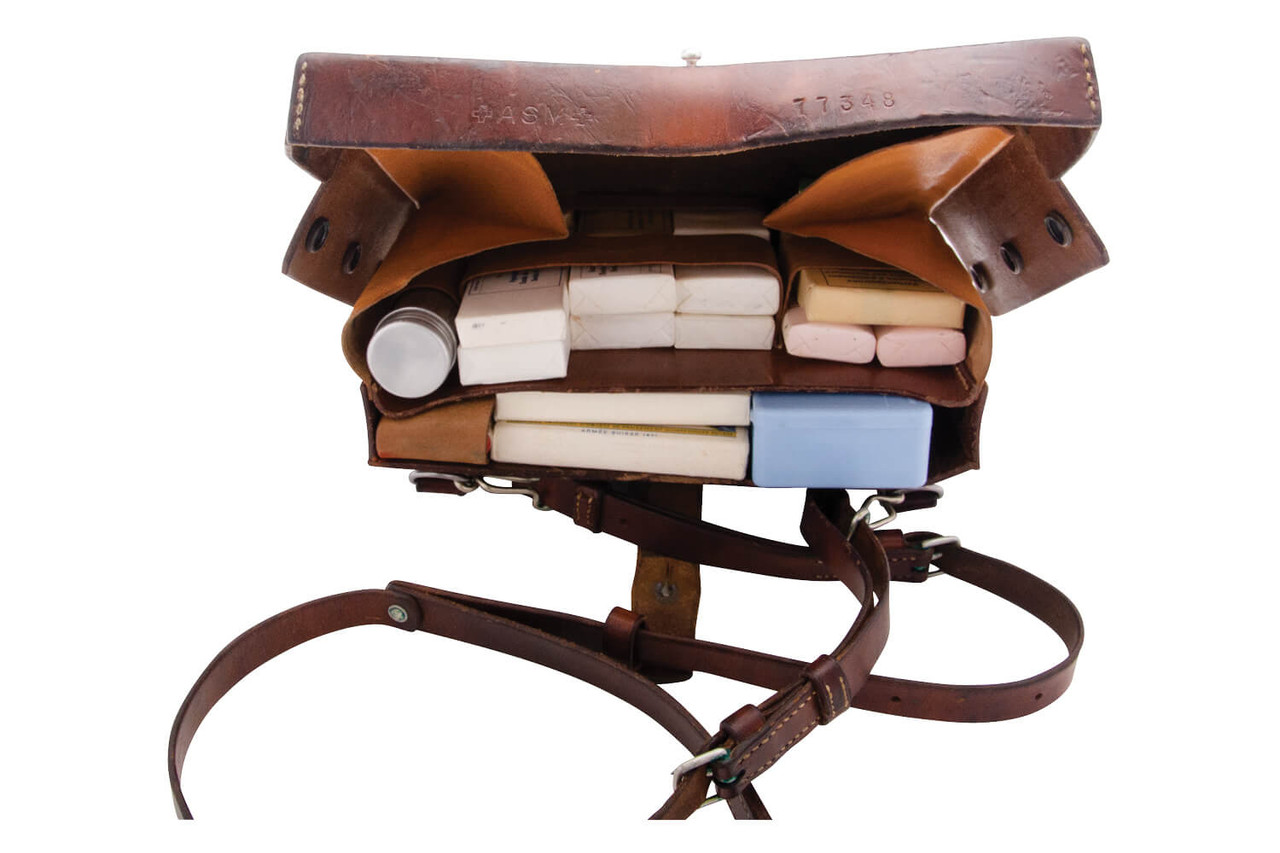 Swiss Army Leather Medical Satchel with Supplies
