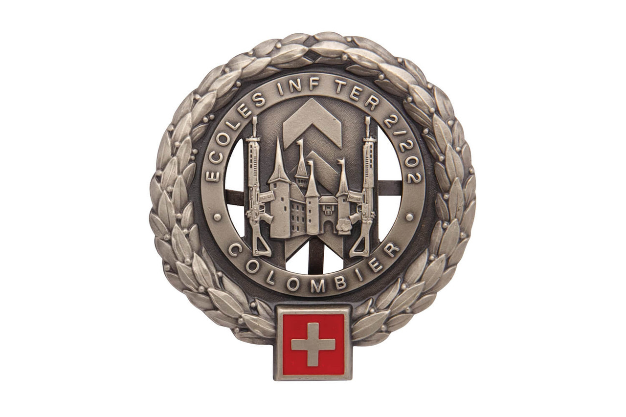 Swiss Beret Emblem Insignia - Colombier Infantry School