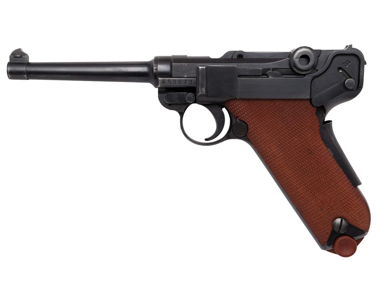 W+F Bern Swiss 06/29 Luger, Red Grips w/ Holster - sn 53xxx