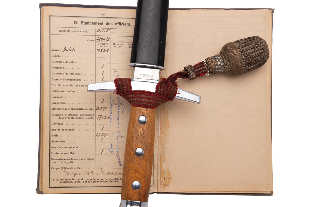 Swiss M1943 Officer Dagger w/ Service Book - sn 10829