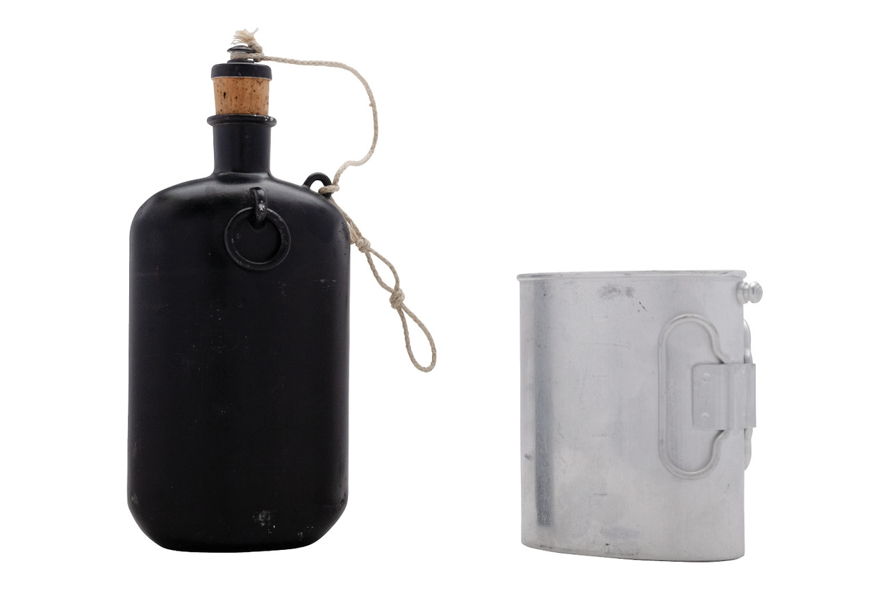 Swiss M32 Canteen, A Grade, Black, Canteen and Cup separated