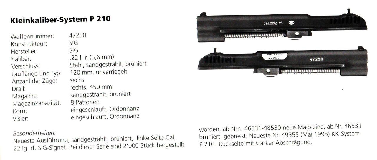 Rare SIG P210 .22LR Conversion Kit - sn 47250 / Book referenced