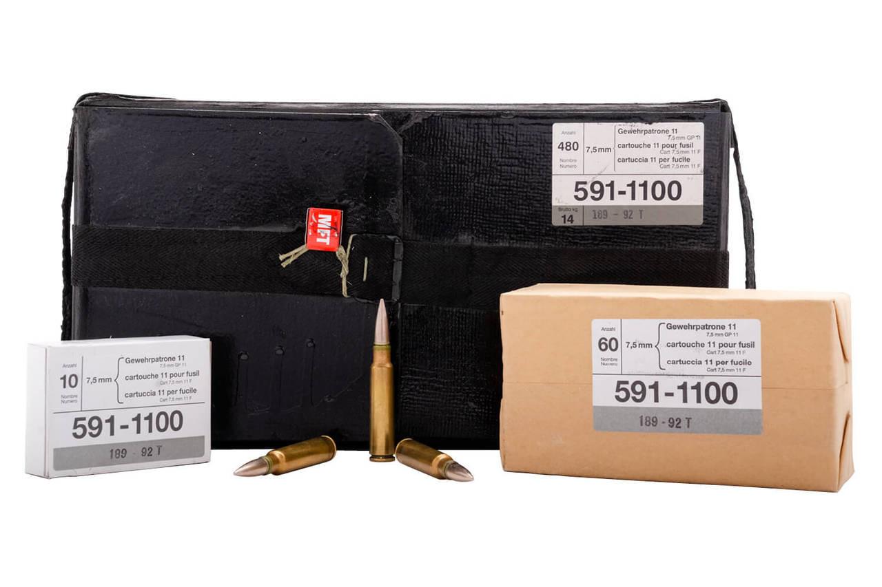 SWISS GP11 7.5X55 FMJ LEAD CORE 480 RDS/CASE