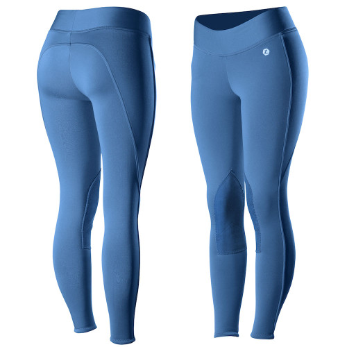 Horze Active Women's Knee Patch Winter Tight - Teal