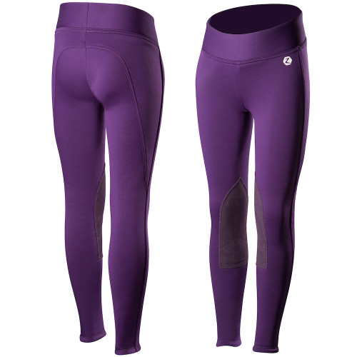 Horze Active Kids Knee-Patch Winter Tight - Purple