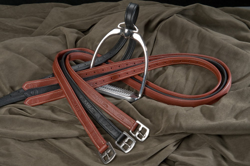 ADT Calfskin Covered Stirrup Leathers - Brown and Black
