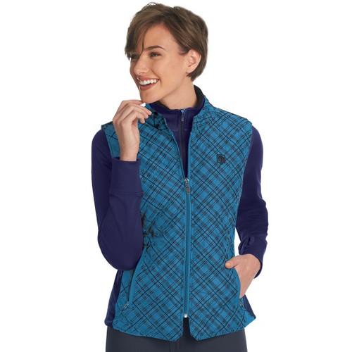 Romfh Ladies Hampton Quilted Vest - Shadow blue plaid