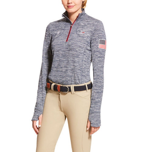 Ariat USEF Gridwork 1/4 Zip Baselayer - Red Navy Colorblock